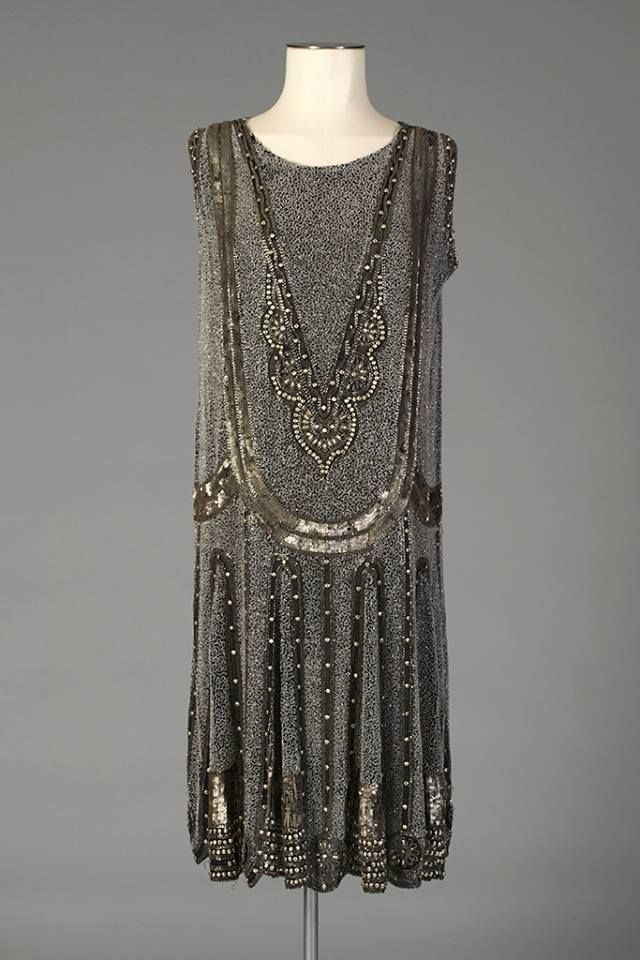 Black chiffon sleeveless dress with allover beaded design, English, mid-1920s, Via Kent State University Museum