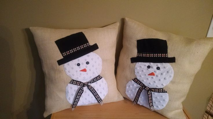Burlap Snowman pillows made with minky white fabric!