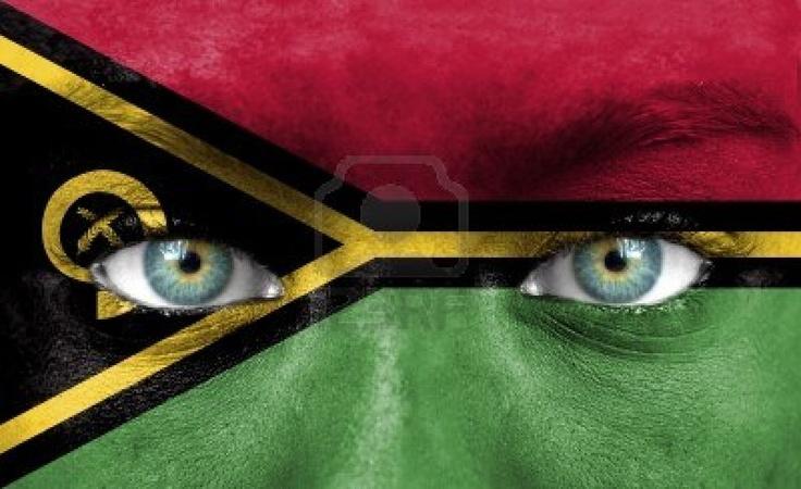 Vanuatu flag face painting.