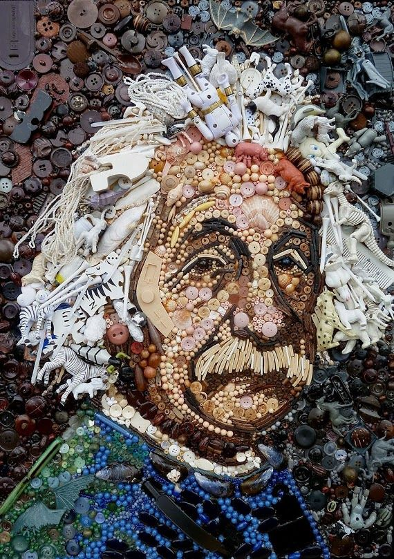 """Plastic Classics - Portrait by Jane Perkins :bit.ly/1drXp5h  British Artist Jane Perkin has re-created famous art pieces using found objects in a stunning mosaic series titled """"Plastic Classics"""". Using buttons, beads, sequins, shells and random objects found around the house (like spoons) and even miscellaneous knick-knacks, she replicates famous paintings and portraits."""