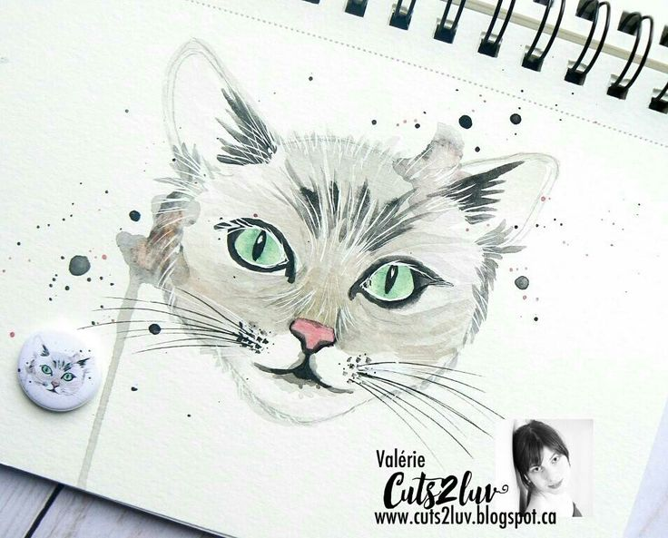 Watercolor cat Cuts2luv flair