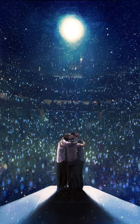 They are in top if the world... Literally (;  The big light is the sun, the stage is the earth and the crowd is the stars