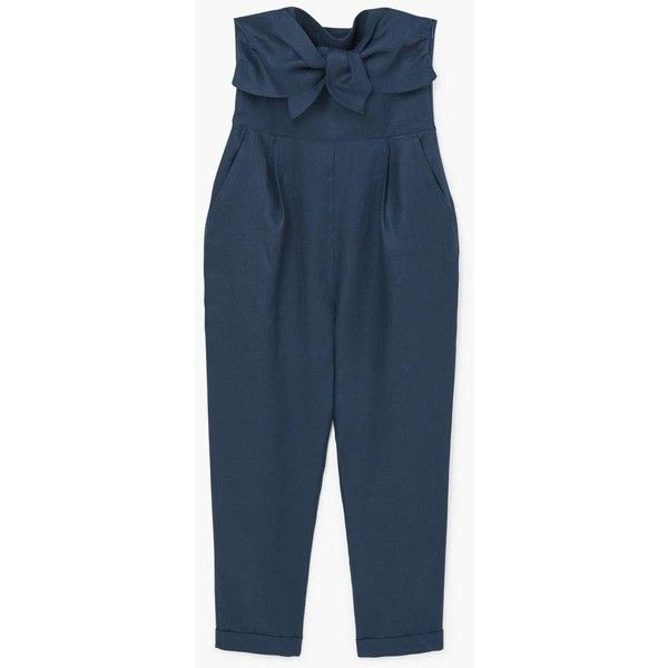 MANGO Bow linen jumpsuit (300 SAR) ❤ liked on Polyvore featuring jumpsuits, mango jumpsuit, linen jumpsuit, jump suit, blue jumpsuit and blue jump suit
