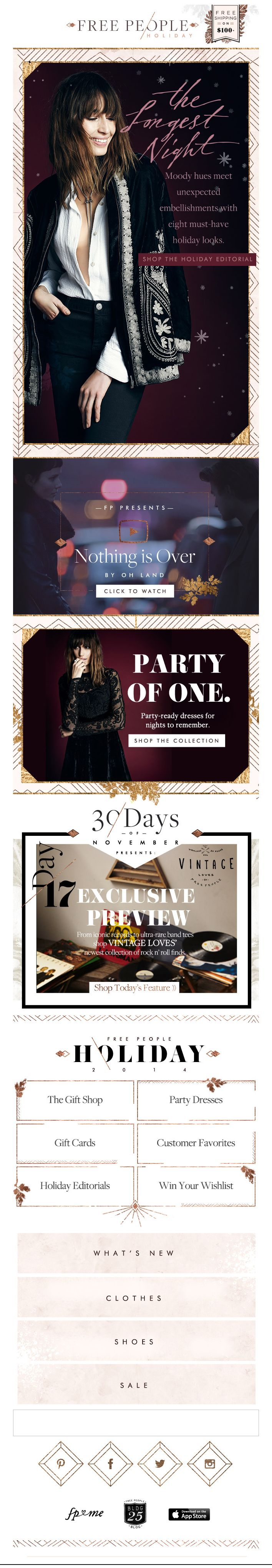 Newsletter Free People Christmas