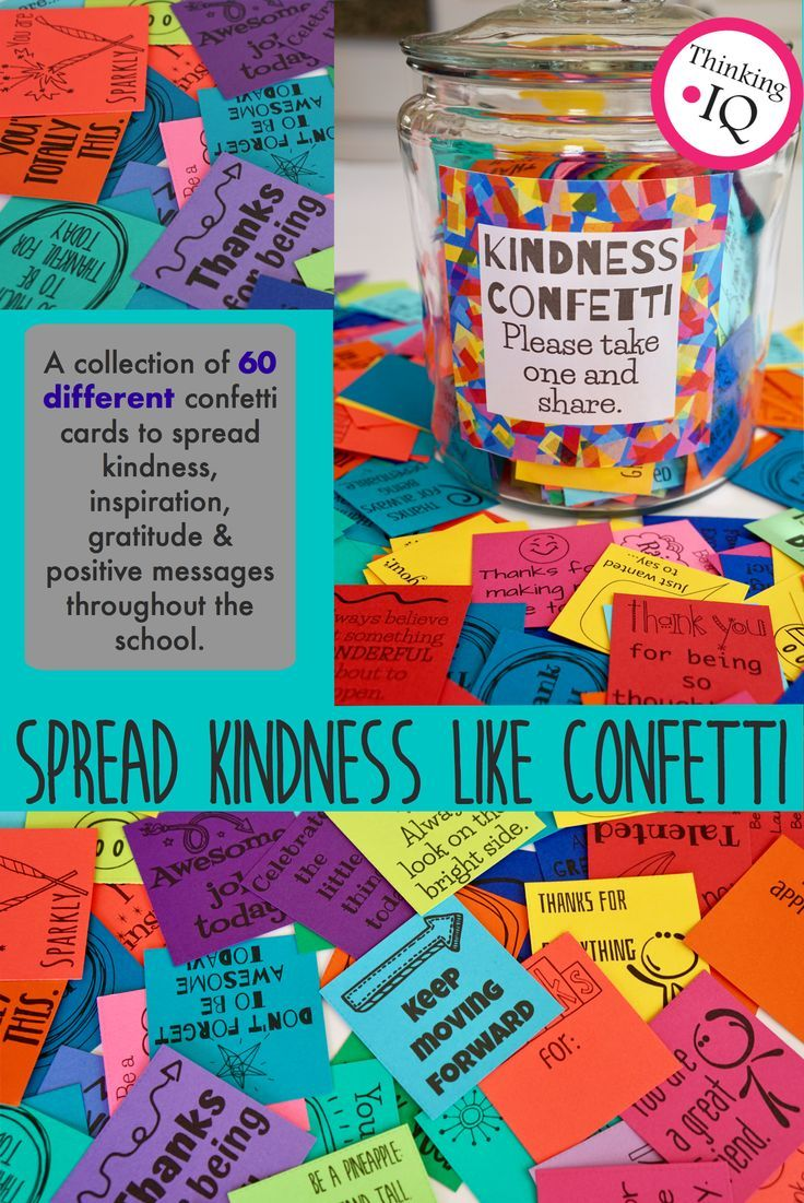 Kindness Confetti cards are designed to help spread kindness, inspiration, gratitude and positive message throughout the school. They encourage a school culture of kindness and making all students, teachers and staff feel important and valued.   Spread kindness like confetti!