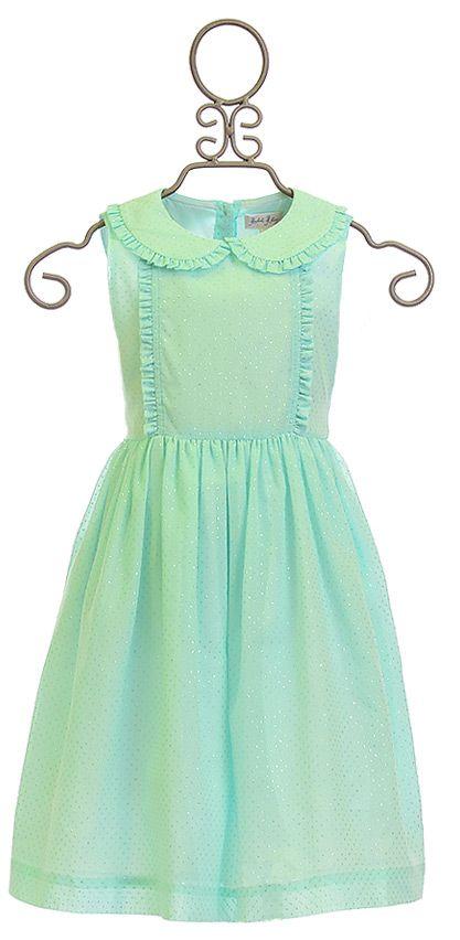 Rachel Riley Glitter Dot Frill Dress in Mint (4,5,6,7)