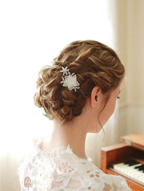 STYLE - #124 CODE:HRP009 Petite lace hair pin. Star-like hair pin is a perfect way to add a dainty sparkle to your hair.  Made with textural white lace with gentle sheen, is also embellished with silver bugo beads. To order yours contact us at loca@localoca.co.za www.localoca.co.za