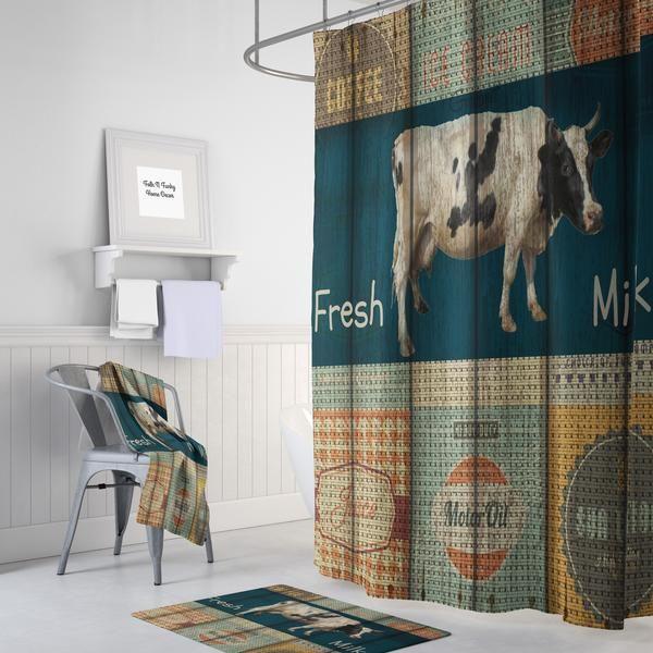 Advertisng  Cow Shower Curtain Farmhouse Chic Faux Wood : Optional Bath Mat, Bath Towels