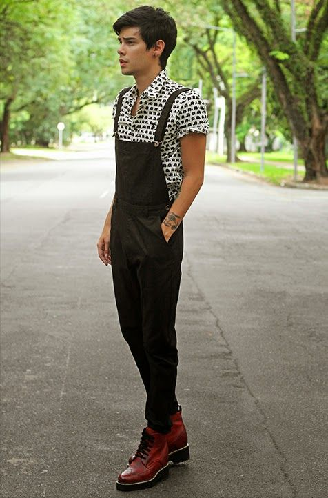 Mens black fashion overalls 6