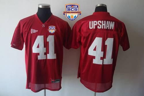 Crimson Tide #41 Courtney Upshaw Red 2013 BCS National Championship Embroidered NCAA Jersey prices USD $22.50 #cheapjerseys #sportsjerseys #popular jerseys #NFL #MLB #NBA