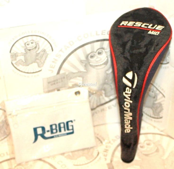 2 LOT TAYLORMADE RESCUE MID 4 WOOD CLUB COVER GOLF HEADCOVER & R-BAG POUCH USED #TAYLORMADE