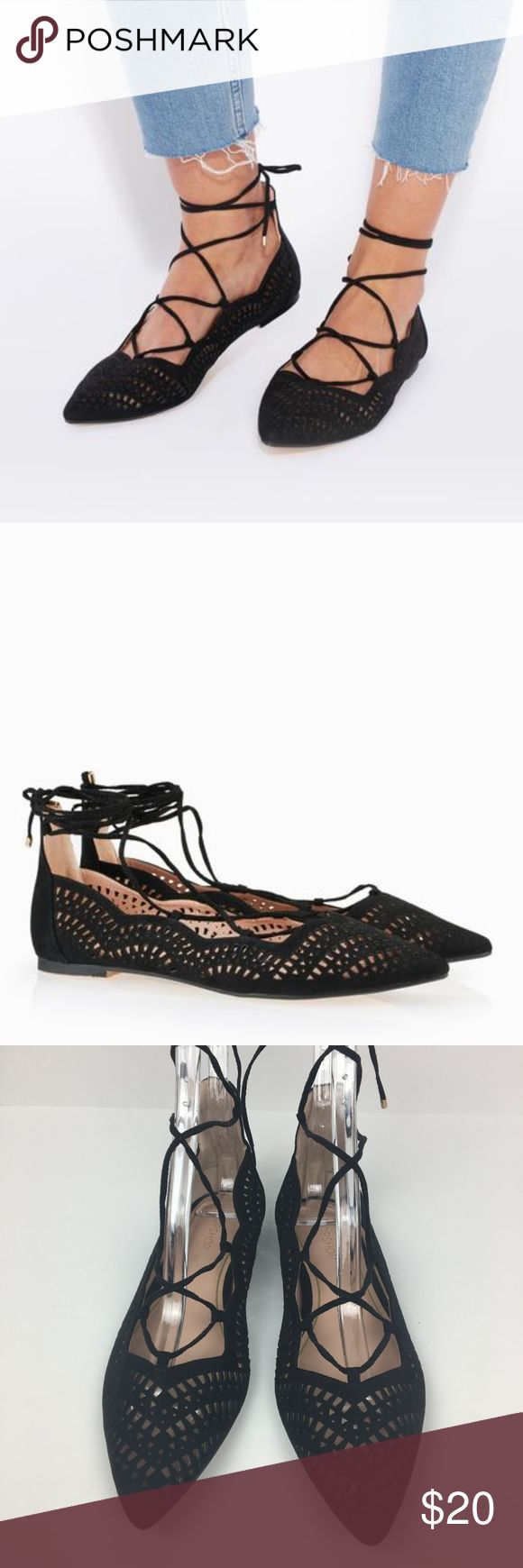 TOPSHOP Faser Laser Cut Ghillie Ballet Flats Pointed toe black leather look ballet flats. Ghillie lace-up tie and intricate all-over laser cut details. 100% polyurethane. Spot clean. Size is EUR 38. No box. Offers welcomed.   Men's Closet: @ofsunandman Kids' Closet: @thelittlesuns  Instagram: @bringingupsuns Topshop Shoes Flats & Loafers