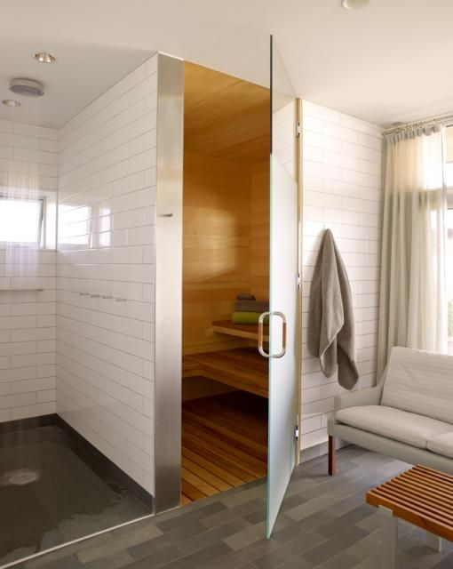 Sauna next to shower