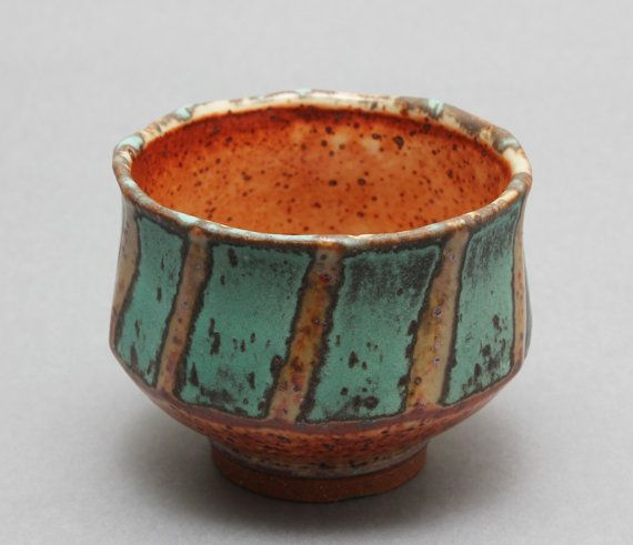 "Hsin-Chuen Lin  |  Wheel-thrown, stoneware chawan with Shino and bronze glazes (3 1/4"" x 4 1/2"" x 4 1/2"")."