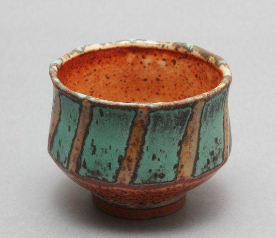 "Hsin-Chuen Lin  |  Wheel-thrown, stoneware chawan with Shino and bronze glazes (3 1/4"" x 4 1/2"" x 4 1/2"")."