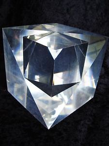 ALESSIO TASCA SIGNED LUCITE CUBE SCULPTURE ITALY RARE MODERNIST
