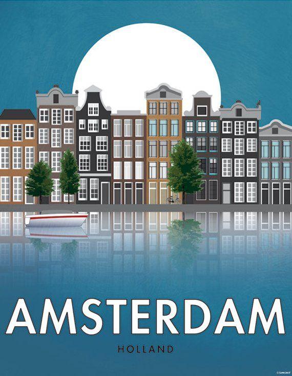 Amsterdam. Olanda. Locandina. Art. Stampa digitale. Illustrazione. Viaggi. Città. Pareti decorative. 40 x 50 cm