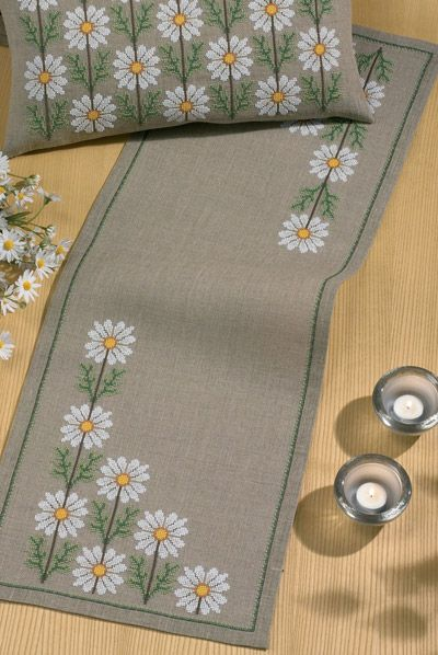 White Daisies Table Runner Cross Stitch Kit - Permin | sewandso