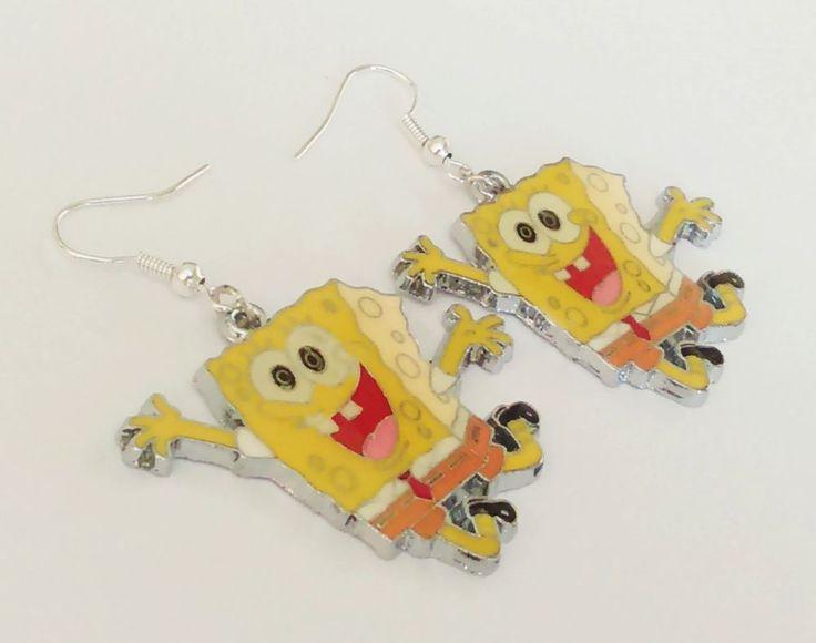 Cute fun spongebob happy Yellow geek enamel charm hooks cartoon earrings jewelry