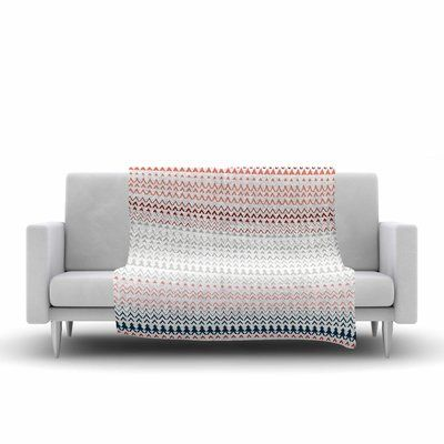 East Urban Home Bridgette Burton Pine Revel Coral Chevron Fleece Blanket