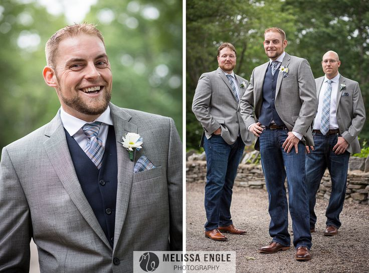 groomsmen in jeans; navy and grey wedding; www.melissaenglephotography.com