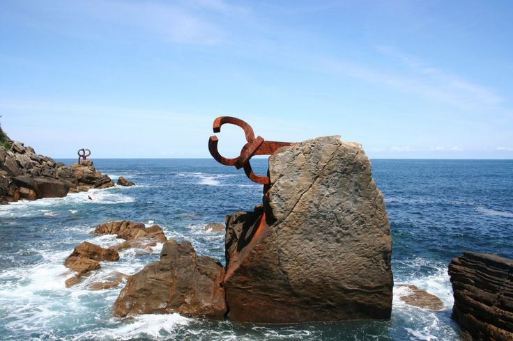The comb of the wind: Peine del viento sculptures of Eduardo Chillida at the foot of the Igeldo mountain,San Sebastian