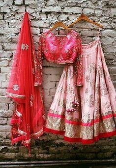 Indian bridal lehenga with blouse and dupatta. Designer lehenga.