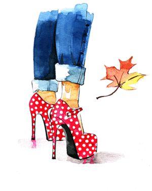 Красный горошек и джинсы мода иллюстрация Жунжун Дево