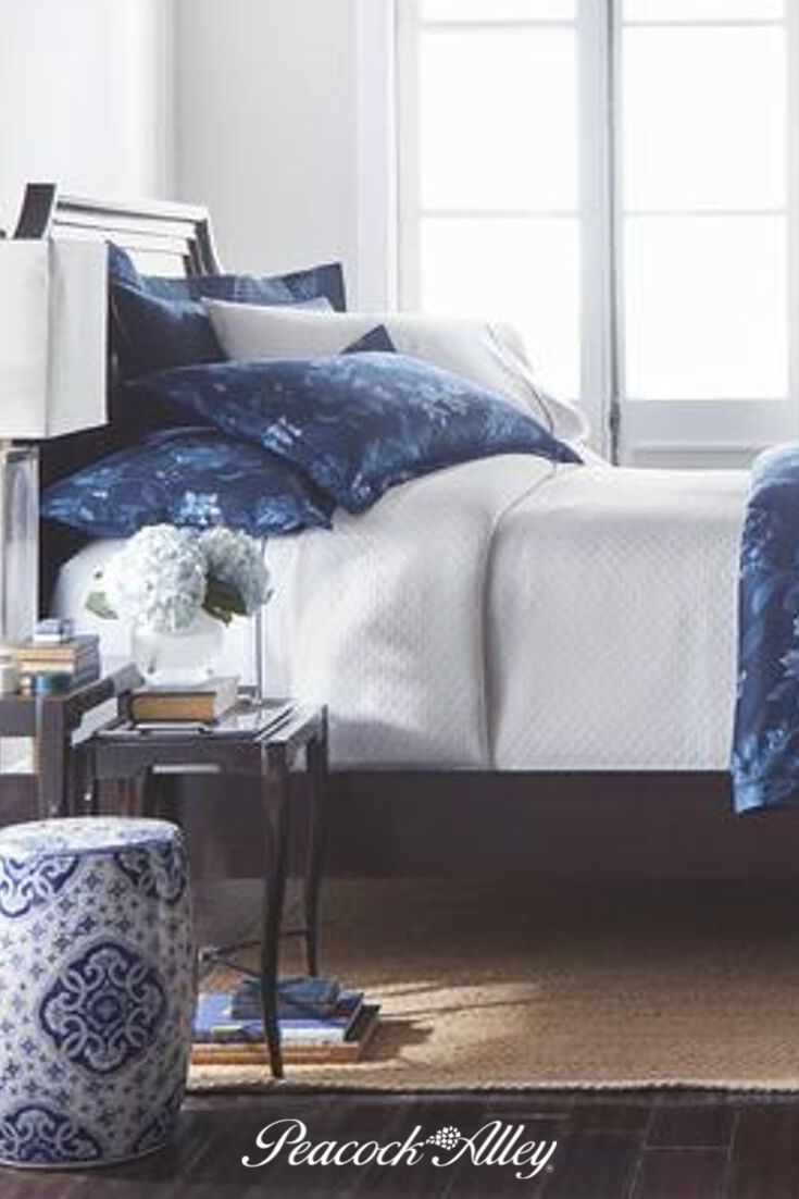 Capture A Sense Of Glamour And Mystery With The New Veronica Floral Printed Shams From Peacock Alley This Charmi Navy Blue Bedding Blue Bedding Bedroom Styles