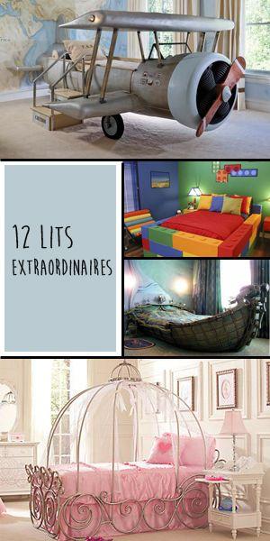 12 lits d'enfant extraordinaires. Lit avion, lit bateau, lit carrosse, lit de princesse, lit toboggan... et vous, de quel lit rêviez-vous quand vous étiez enfant ?