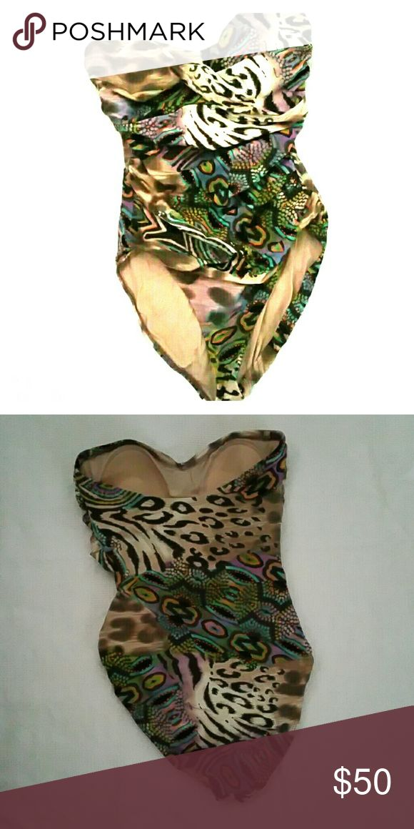 Beautiful animal print one piece swimsuit Excellent condition with no signs of wear. Spiegel Swim One Pieces