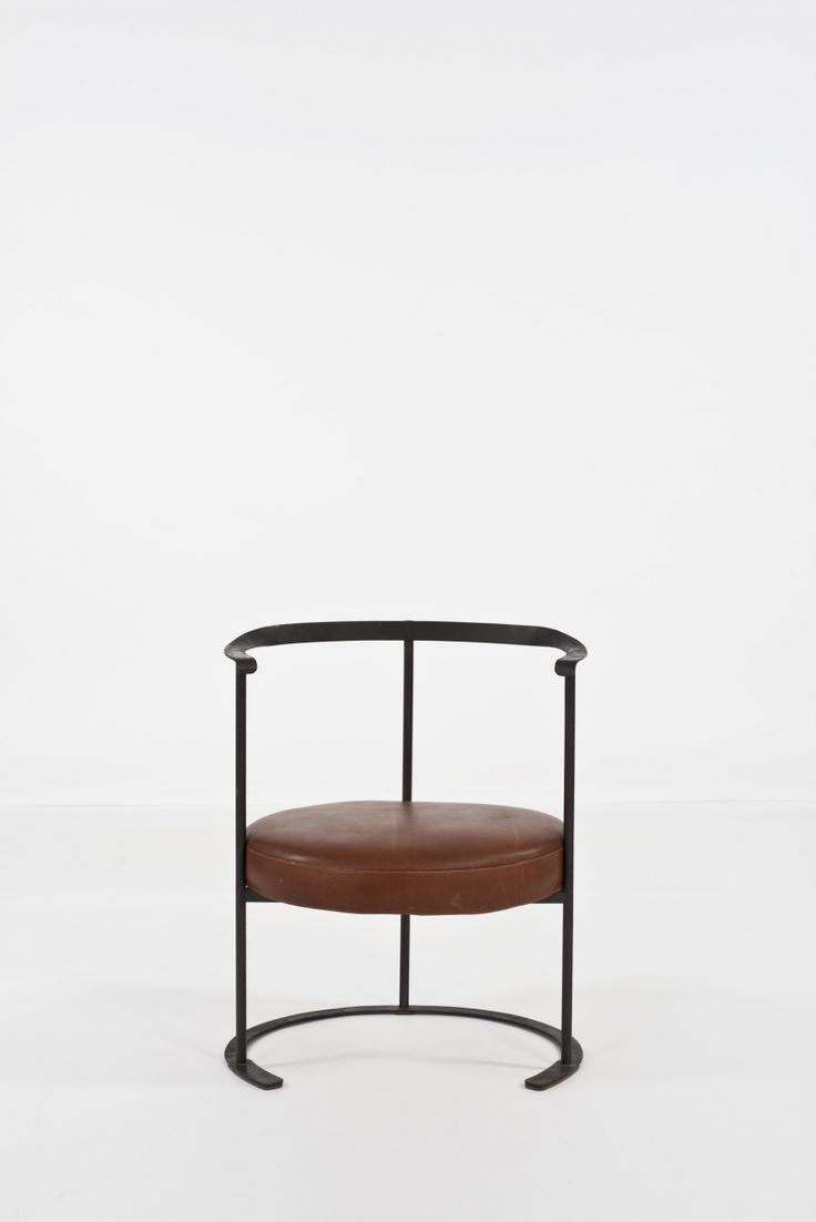 Luigi Caccia Dominioni; Enameled Iron and Leather 'Catiline' Armchair for Azucena, 1958.