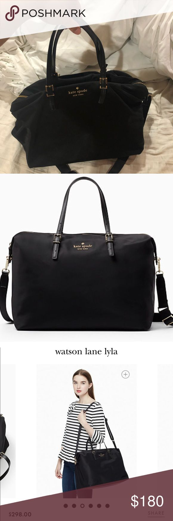 "Kate Spade Weekend Bag Perfect condition weekend bag with adjustable crossbody strap. No stains or holes/tears. SIZE: 13.5""h x 15.6""w x 9.6""d drop length: 7.5'' handle; 10'' - 22'' adjustable  Originally $298 plus tax kate spade Bags Travel Bags"