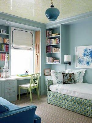 I just had an idea to use my old twin bed as a couch! Gotta love Pinterest for already having the ideas! Love this look.