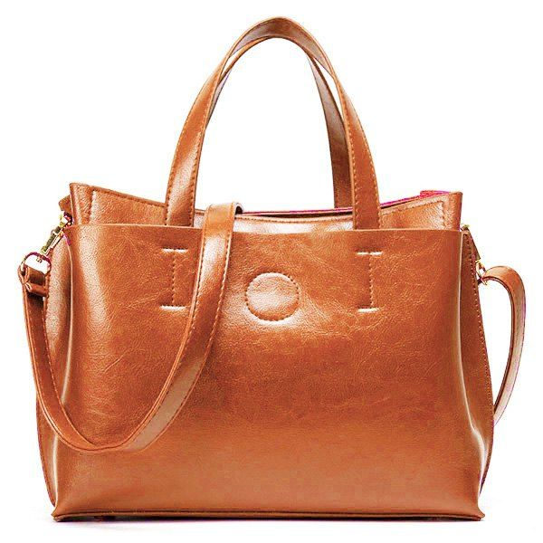 Simple Stitching and Solid Color Design Women's Tote Bag - BROWN