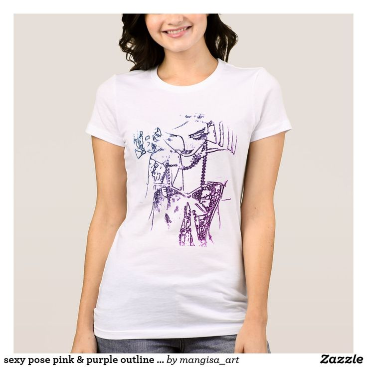 sexy pose pink & purple outline art print shirt