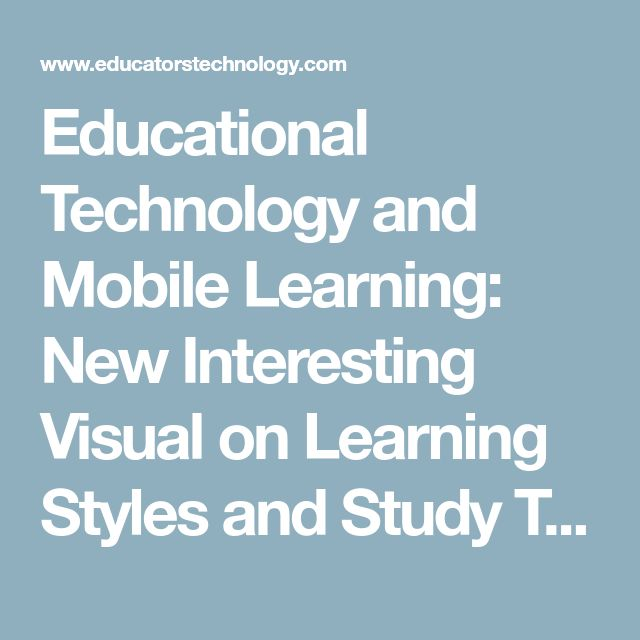 Educational Technology and Mobile Learning: New Interesting Visual on Learning Styles and Study Tips
