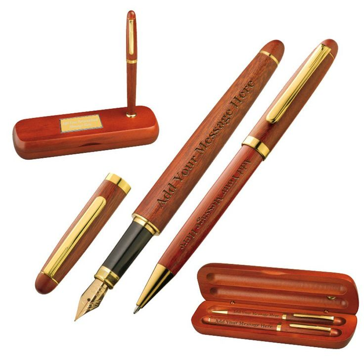 Buy Personalised Wooden Pens Gift Set In Rosewood Box online at GiftsOnline4U with free delivery in the UK.