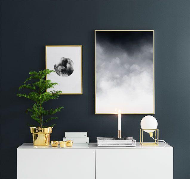 Tavla med moln i grafisk stil | Stilrena posters och affischer till inredning, 50x70cm