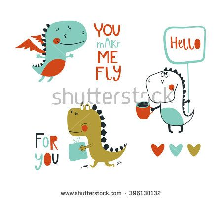 Set of 3 cute dinosaurs. Vector illustration. Hand Drawn elements for anniversary, birthday, party invitations, scrapbook, T-shirt, cards, stickers. Vector illustration. Orange, green, turquoise