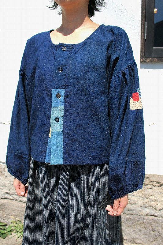 Japanese boro indigo cotton blouse/sashiko/remake/handmade/natural indigo/1900s…