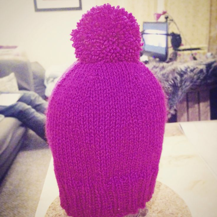 The Shortbread Bobble Hat. Handmade and knitted from DK yarn. These can be made in any colour and different patterns.