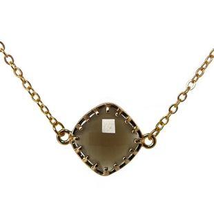 fijn kort gouden kettinkje taupe bruin facet steen sieraden trends musthave