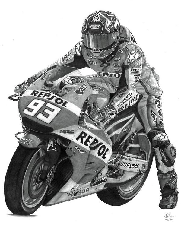 Very awesome Drawing of Marc Marquez by Justin Marc Gardner..
