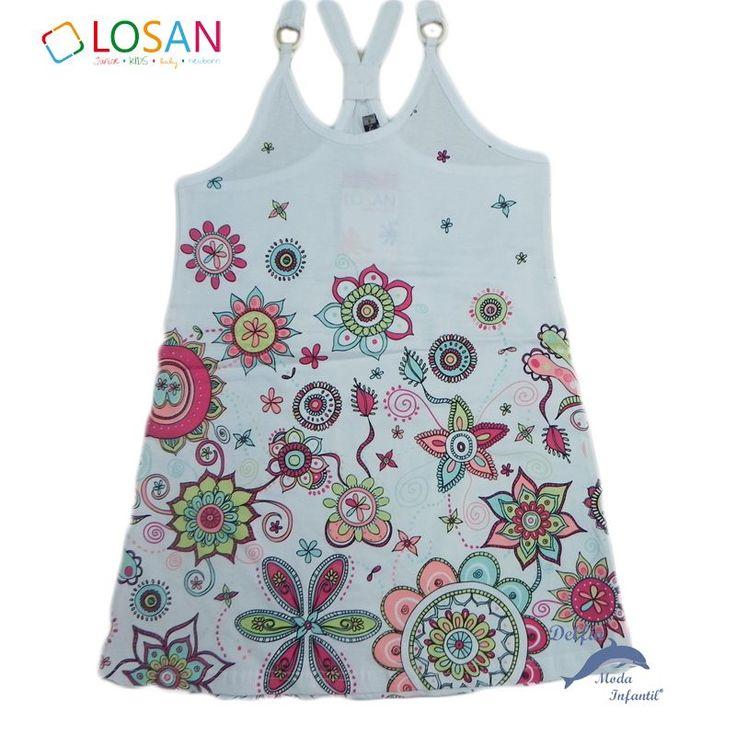 Vestido niña juvenil LOSAN tirantes estampado en blanco