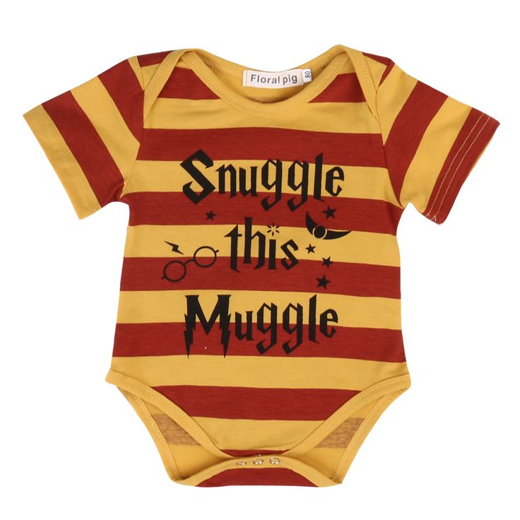 Snuggle This Muggle Harry Potter Inspired Baby Romper 2017 Summer Newborn Infant Baby Clothes Striped Toddler Kids Jumpsuit
