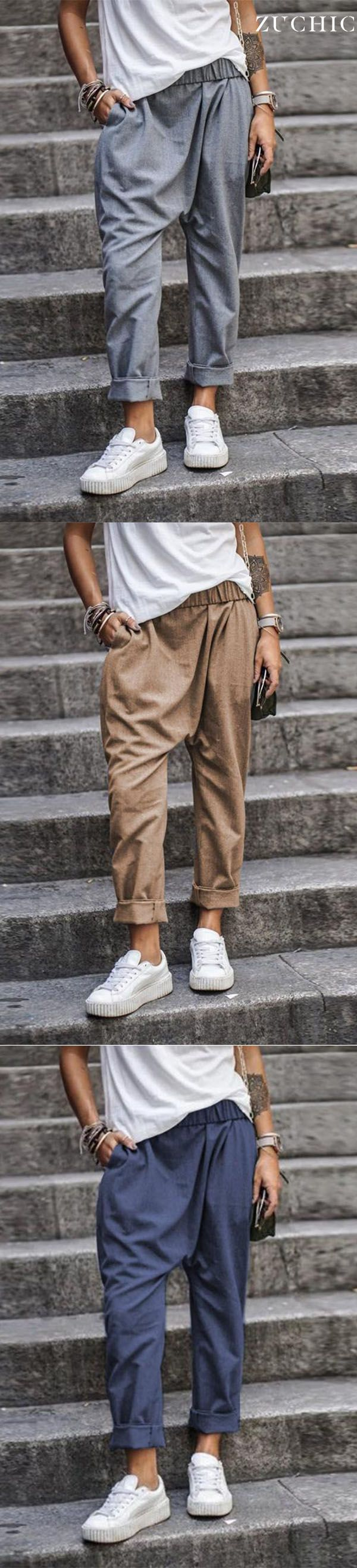 Hot Sale>>Solid Color Casual Pocket Elastic Waist Harem Pants
