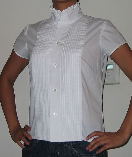 :: clevergirl.org ::: Refashion 4: Ruffled Collar Shirt from Mens Tuxedo Shirt