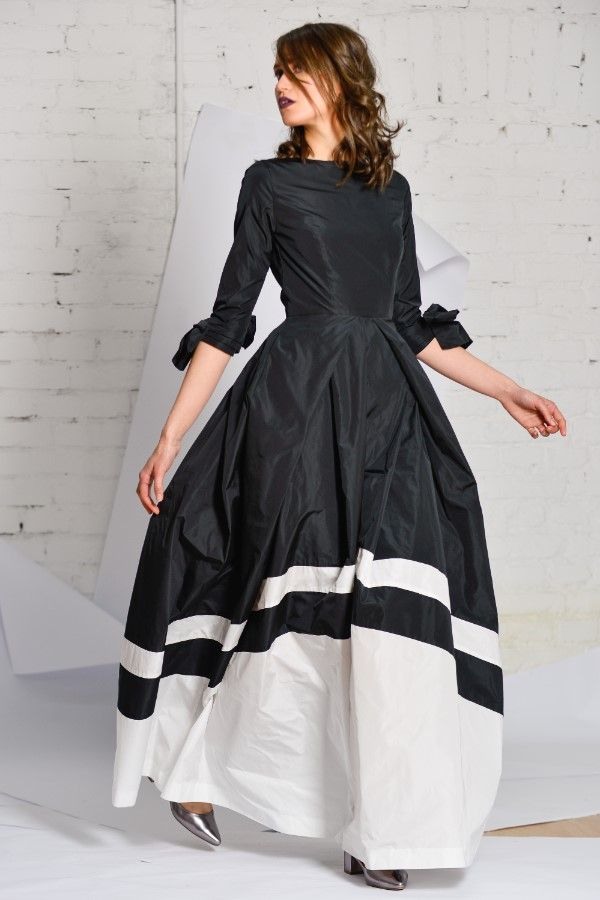 black&white taffeta long dress