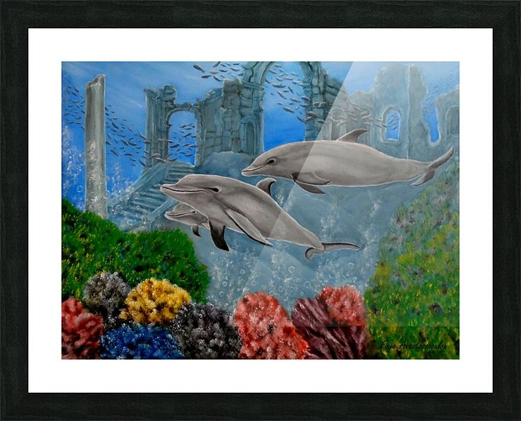 Framed Print, dolphins,aquatic,life,painting,underwater,world,scene,wildlife,fishes,seascape,ruins,temples,sunk,ancient,town,saltwater,ocean,sea,deep,bottom,nature,reefs,bubbles,vivid,colorful,aqua,blue,water,mystery,submerged,marine,animal,beautiful,awesome,cool,superb,amazing,fabulous,magnificent,contemporary,realistic,figurative,in,of,under,the,fine,oil,wall,art,images,home,office,decor,artwork,modern,items,ideas,for sale,pictorem
